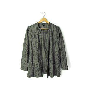 Eileen Fisher open front crinkle silk jacket top